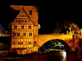 Bamberg - Rottmeisterhaus and river Regnitz