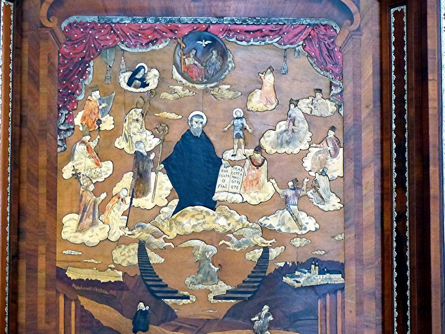 Monastery Banz - Inlays in the choir show a scene of the libe of holy Benedict