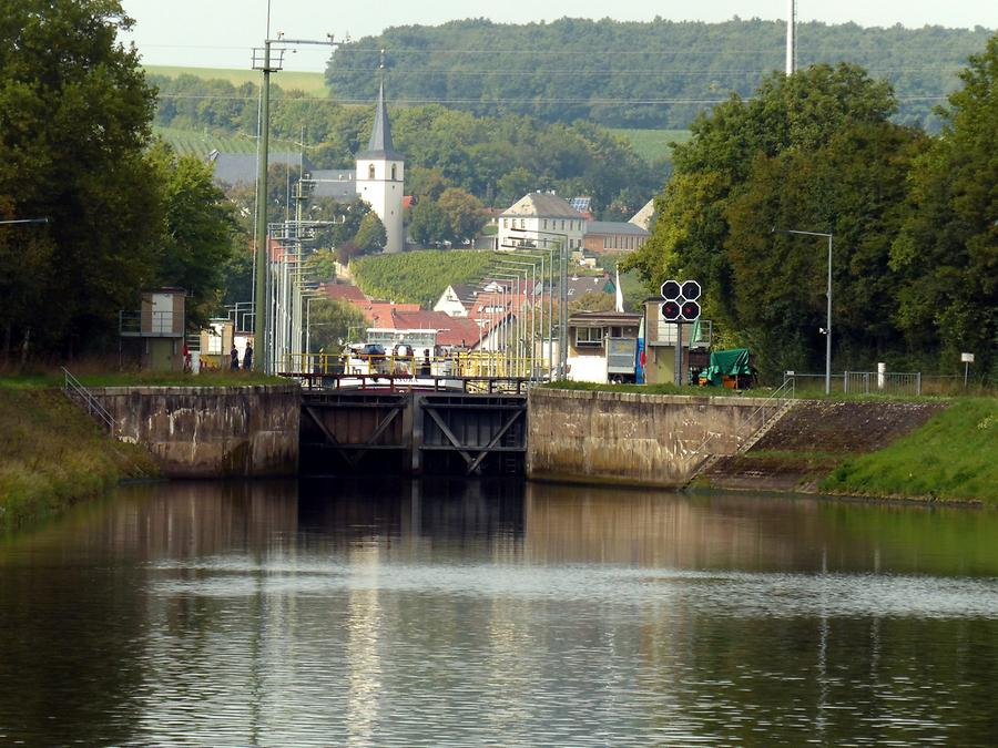 Volkach - River Main with lock for shipping