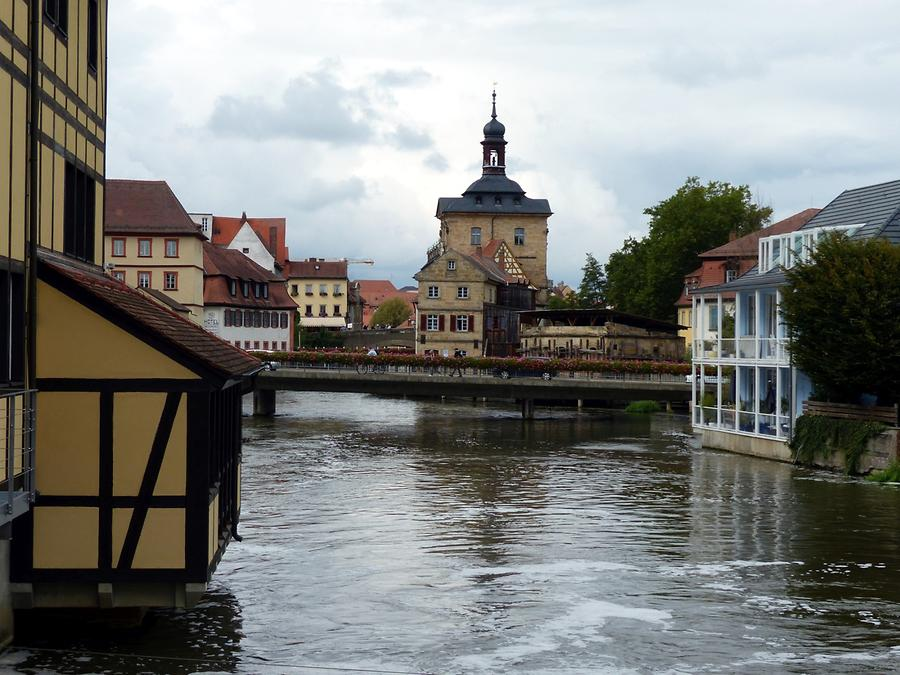 Bamberg - View over the river Regnitz to the Old Town Hall