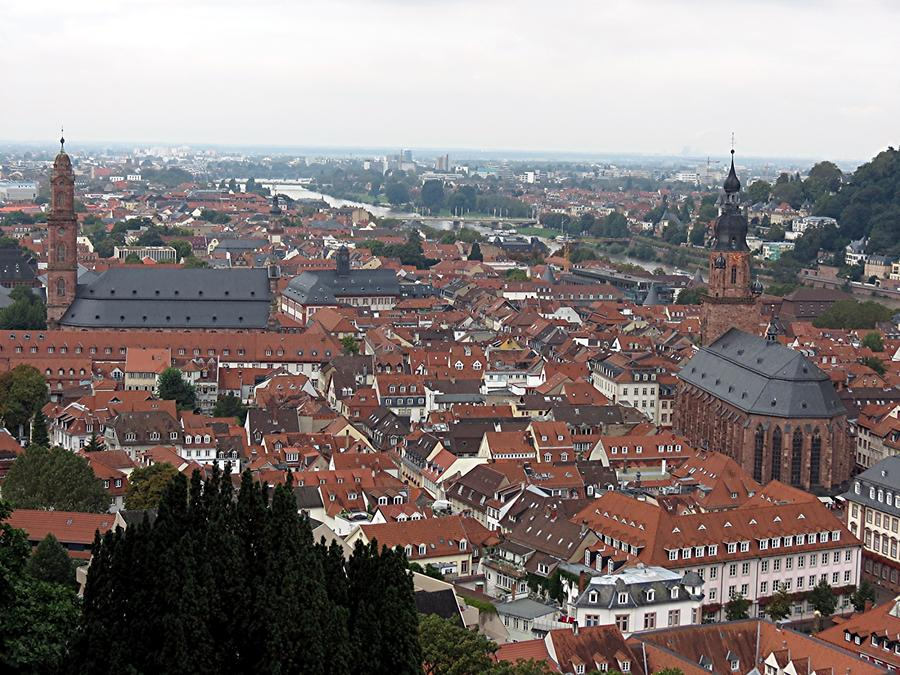 Heidelberg - Old Town with Church of the Holy Spirit and Jesuit Church