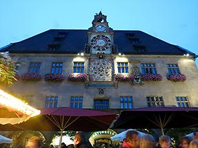 Heilbronn - Town Hall with Wine Festival in the Foreground