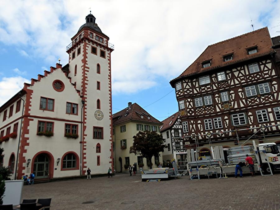 Mosbach - Town Hall from 1559 and 'Palm'sches Haus' from 1610