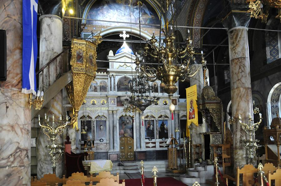 Inside the Orthodox Church of Vathi