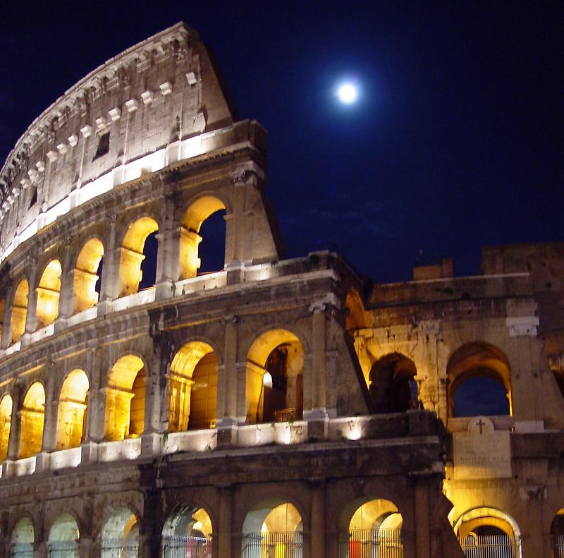 Nighttime view of the Roman Colosseum