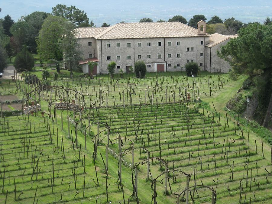 Cassino - Abbey of Monte Cassino, View from the Second Cloister to the Manor and the Vineyard