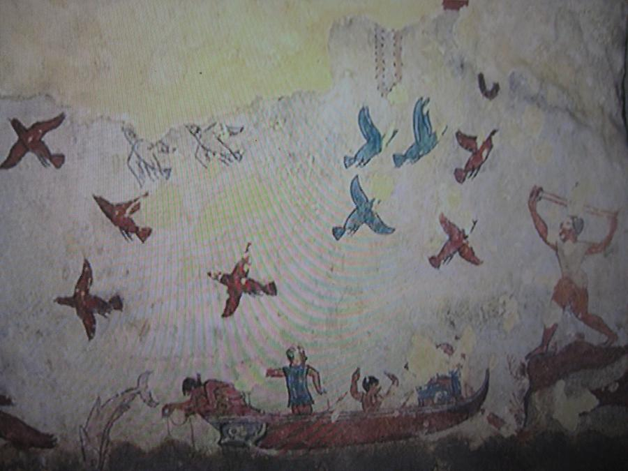 Tarquinia - Necropolis Monterozzi, Tomb of Hunting and Fishing, Fresco with Fishing Scene