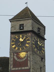 Rapperswil - Schlossturm - Turm- und Sonnenuhr (2)