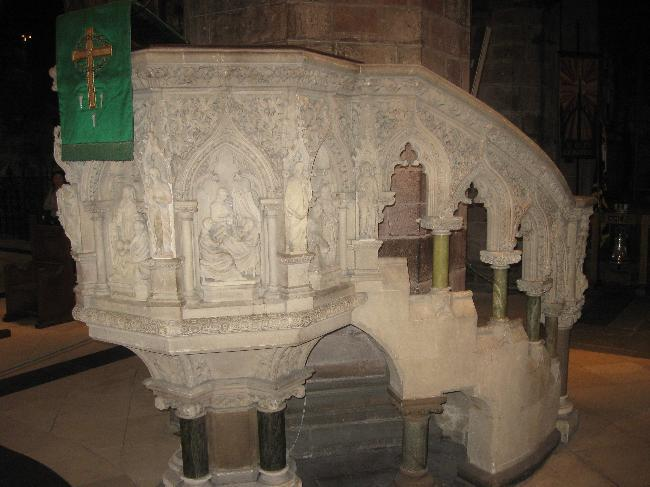 Carved Marble Pulpit