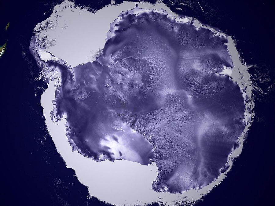 An ICESat image reveals the textured surfaces of Antarctic ice sheets in amazing detail. The high flat area in the center of the continent is called the East Antarctic Plateau; the white area surrounding the continent is sea ice. Image completed 23 May 2003, courtesy of NASA/Goddard Space Flight Center Scientific Visualization Studio, Canadian Space Agency, RADARSAT International Inc.