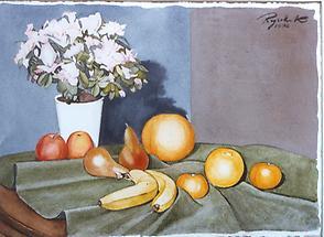 Blumenstilleben mit Obst und Azaleen