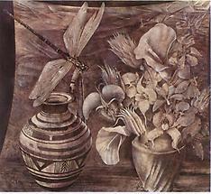 Blumenstilleben mit bem.Krug und Libelle