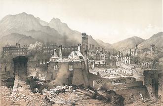 Markt- und Stift Admont nach dem Brand 1865.