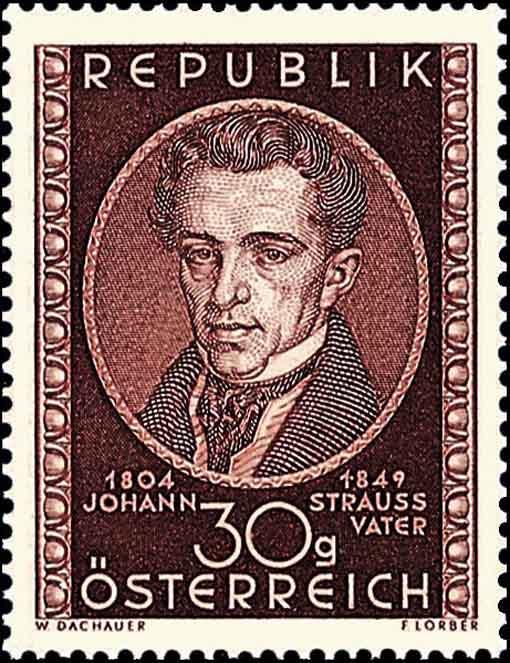 Johann Strauß Vater   1949   Briefmarken   Kunst und ...