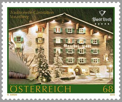 Briefmarke, Gasthof Post, Lech