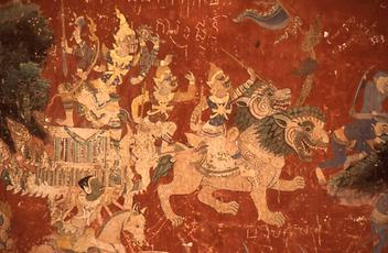 Depiction of Ramayana as wall painting