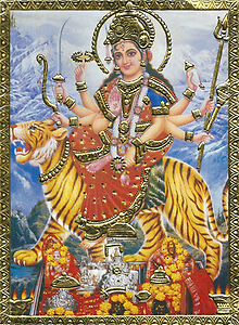 To have many arms shows increased power over evil. The attributes of Amba are the two high gods Vishnu und Shiva