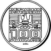 100 schilling 1000 jahre k rnten 1976 1976 kunst. Black Bedroom Furniture Sets. Home Design Ideas