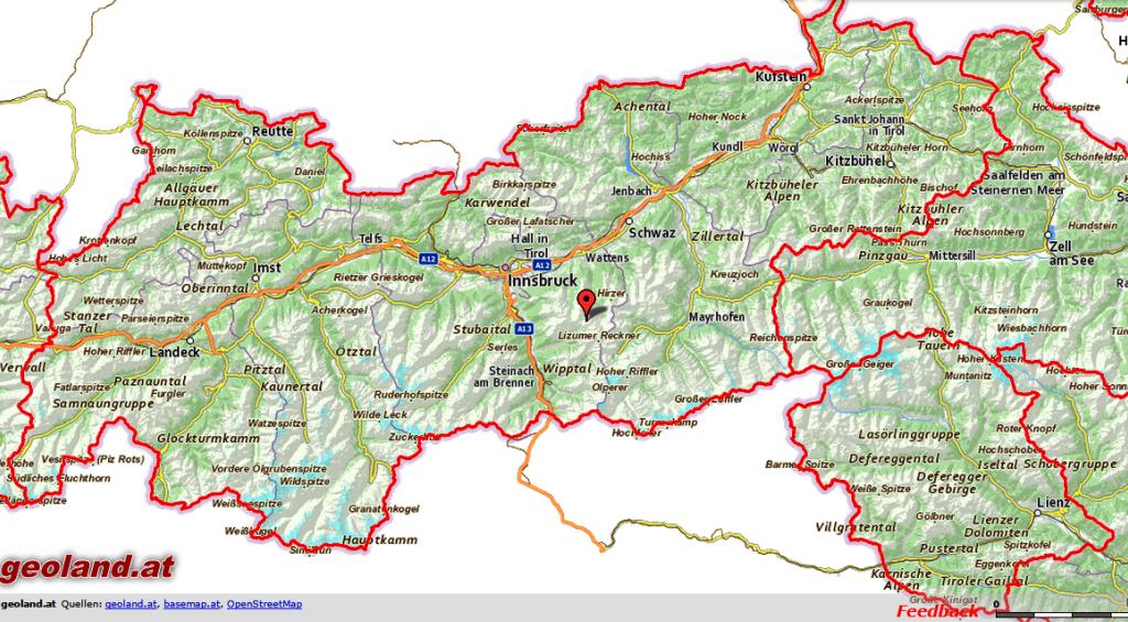 Karte Tirol Arenaswallpaper