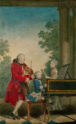 Leopold Mozart mit Wolfgang Amadeus und Nannerl, © IMAGNO/Austrian Archives (AA)