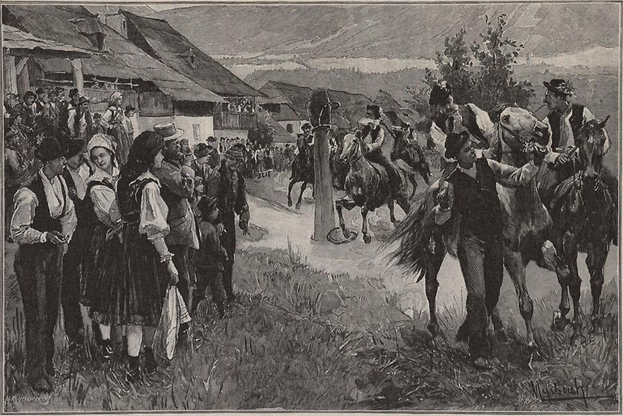 Illustration Kufenstechen in Feistritz