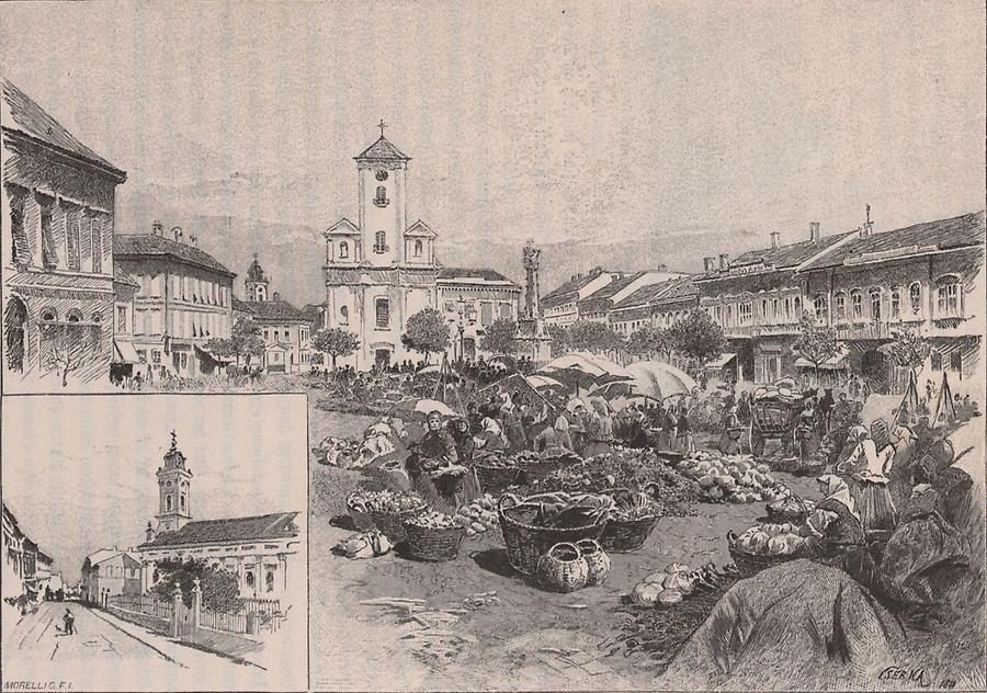 Illustration Hauptplatz in Neusatz
