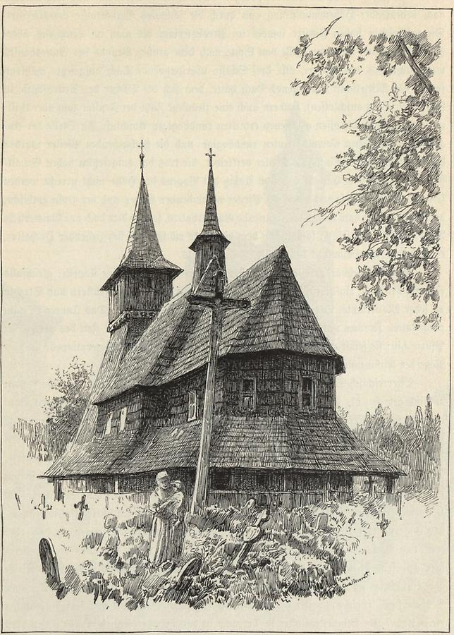 Illustration Holzkirche in Kamitz
