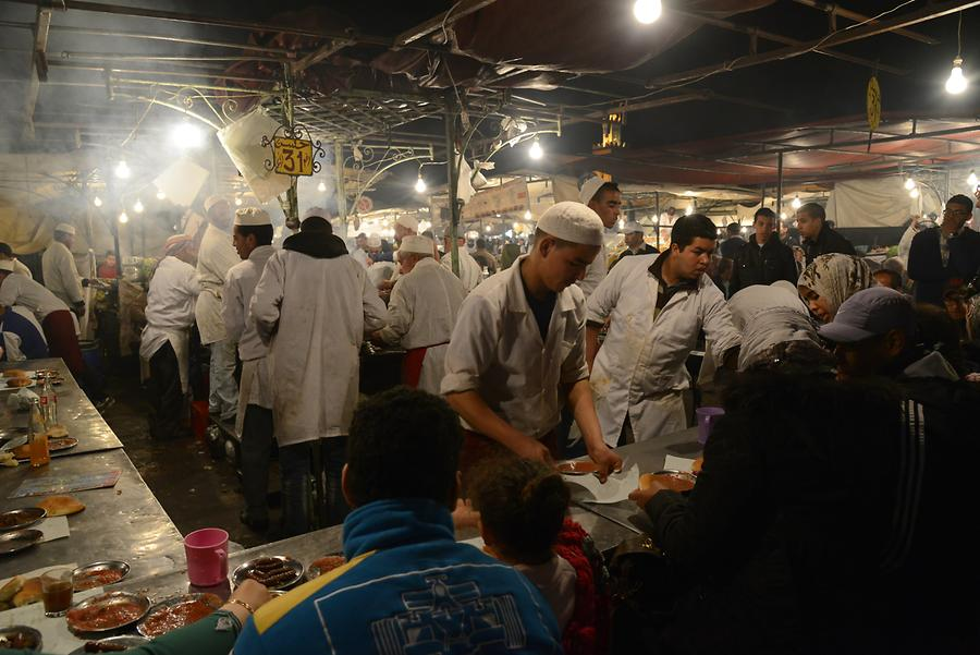 Marrakech - Djemaa el-Fnaa at Night; Food Stalls