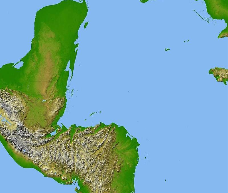 Central America, Satellite radar topography