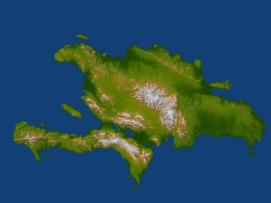 Satellite radar topographic view of the island of Hispaniola. The devastating earthquake at Port-au-Prince, Haiti, on 12 January 2010, occurred on the Enriquillo-Plantain Garden fault, visible here as a prominent linear landform immediately southwest of the city of Port-au-Prince and as a series of fault traces extending westward along the full length of the southern Tiburon Peninsula. Image courtesy of NASA/JPL/NGA.