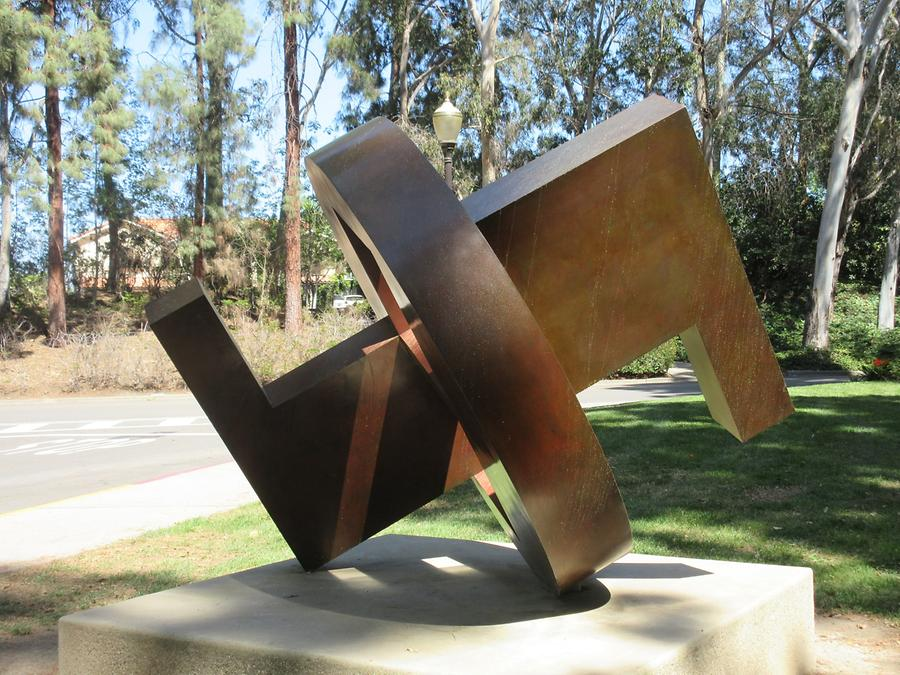 UCLA Franklin D. Murphy Sculpture Garden - 'Dynamic Rhythms Orange' by Benton Fletcher 1970