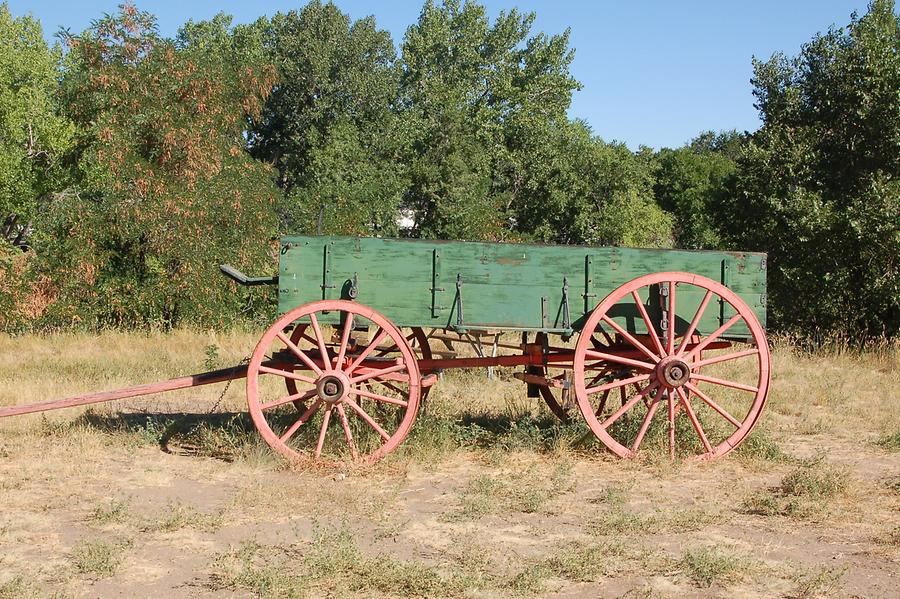 Old cart on display in Golden