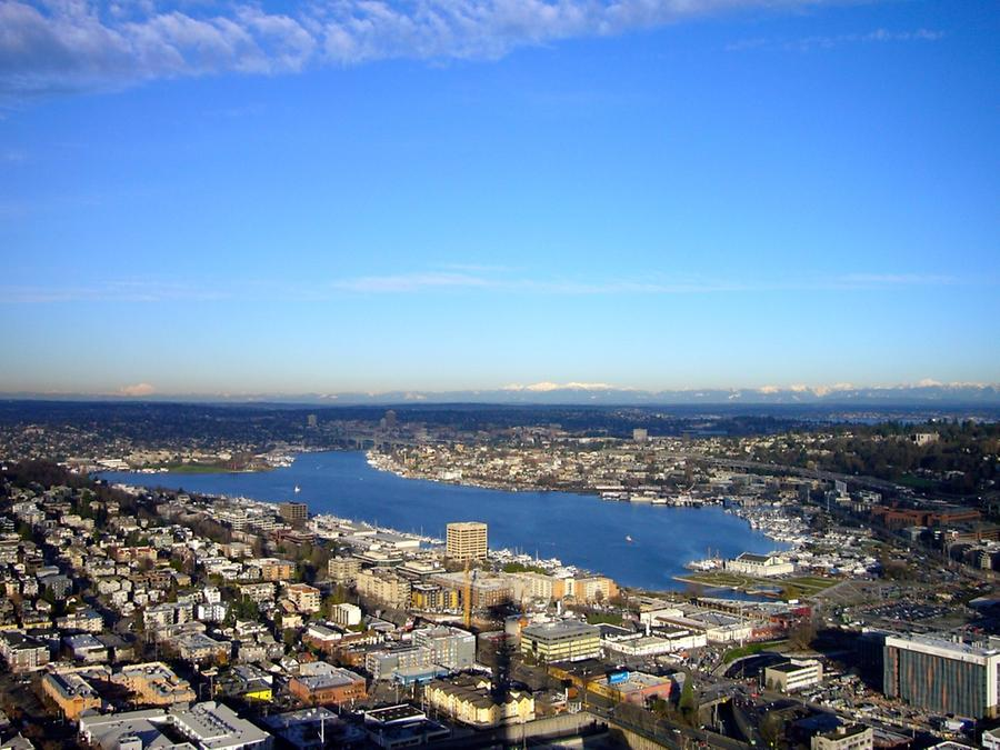 lake seen from space needle