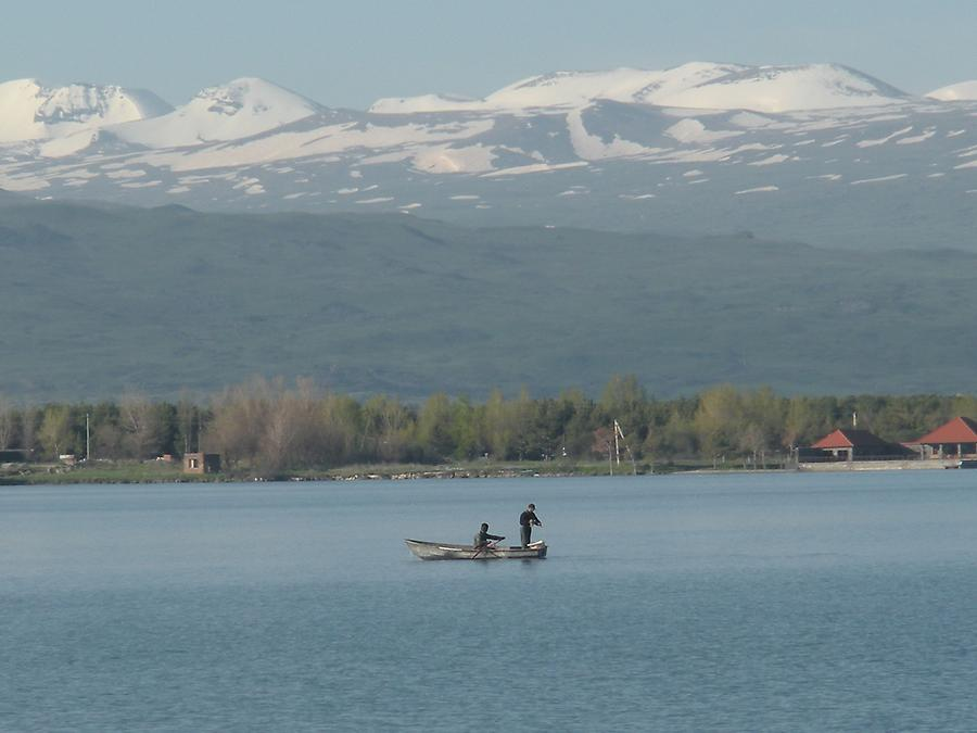 Lake Sevan with fishermen