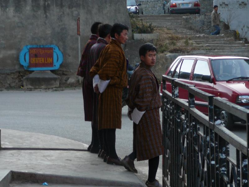 Bhutanese people wearing traditional garb