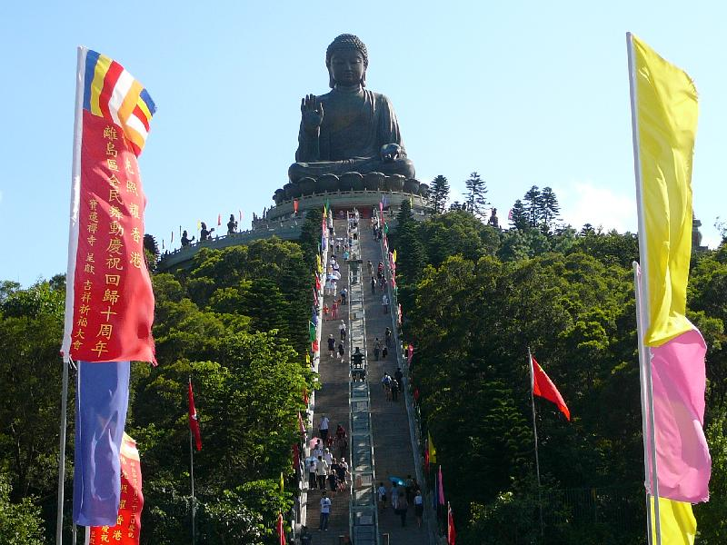 stairway leading to big buddha statue