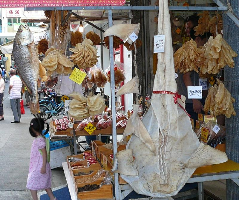 market stall with dried fish