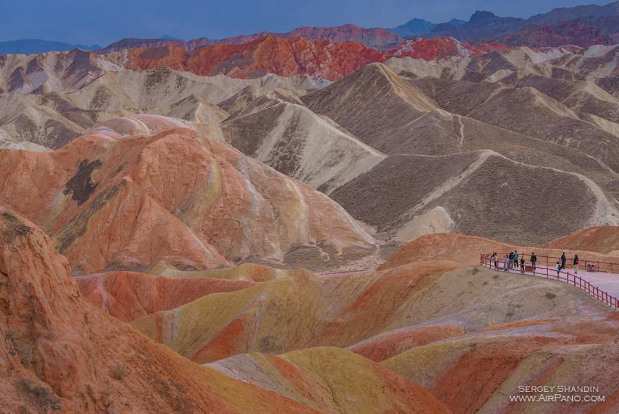 Colourful mountains of the Zhangye Danxia Geopark, China, © AirPano
