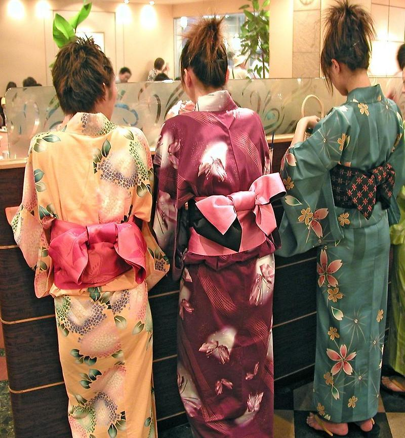 Colorful kimonos