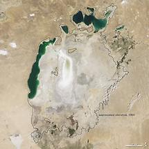 Aral Sea, dropped water levels