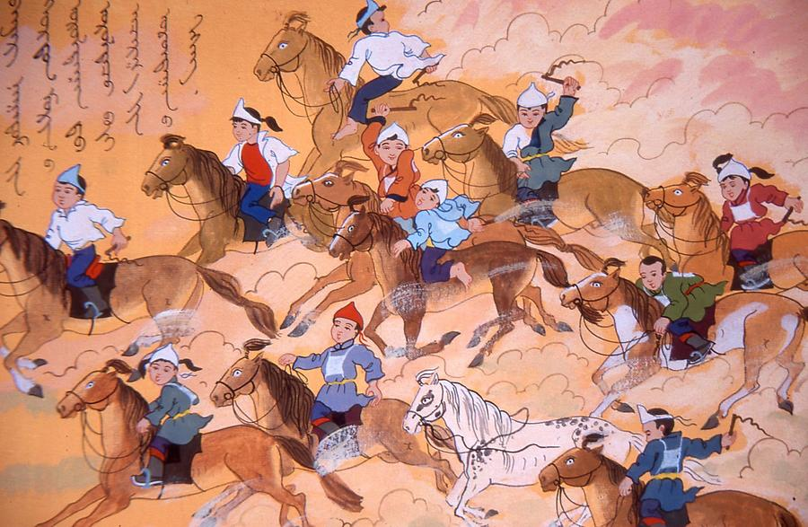 People and horses in mongolian folks art