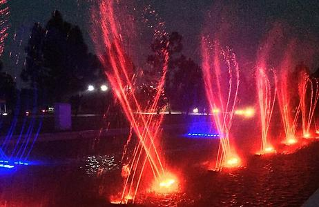 Cancing colour fountains near F-16 sector. These were designed by the Falcon Engineering firm in Islamabad., Photo: Rizwan Mehmood, 2015