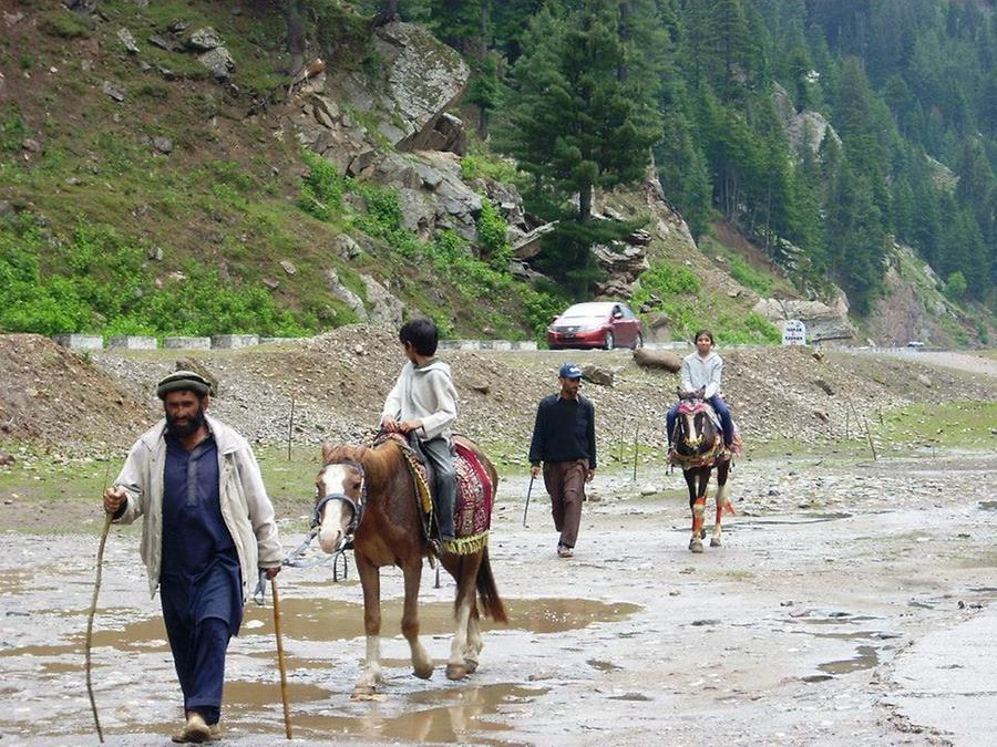 Locals offer horse riding for the tourists