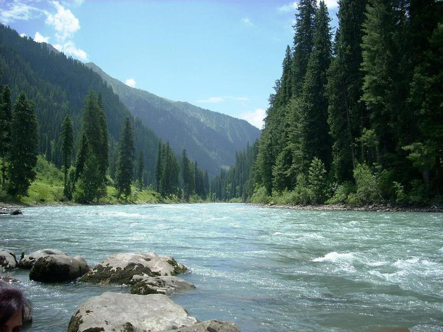 Neelum river flows through the valley
