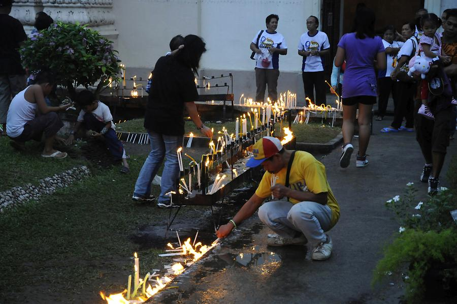 Candles in front of the Kalibo Church