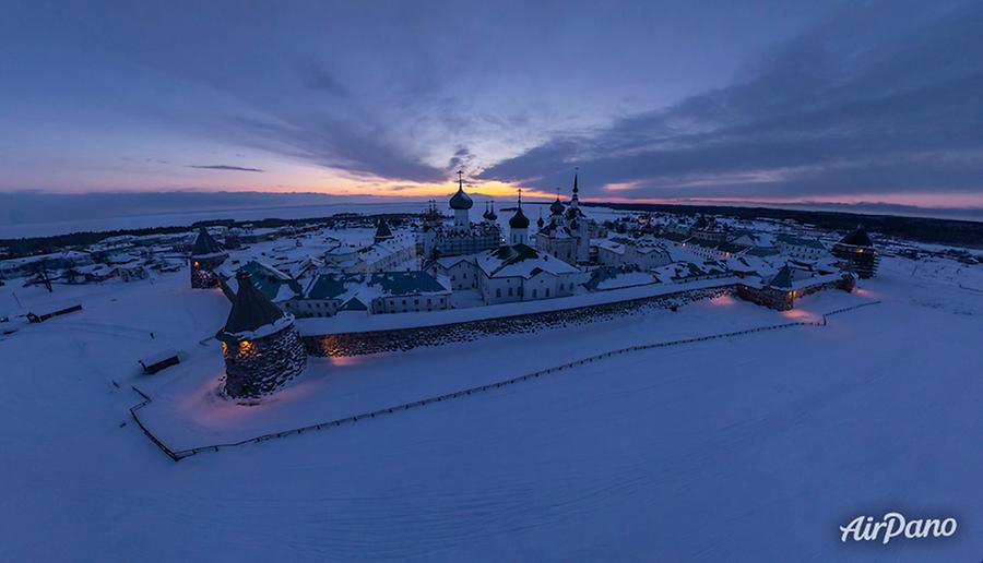 Solovetsky Monastery in winter night, © AirPano