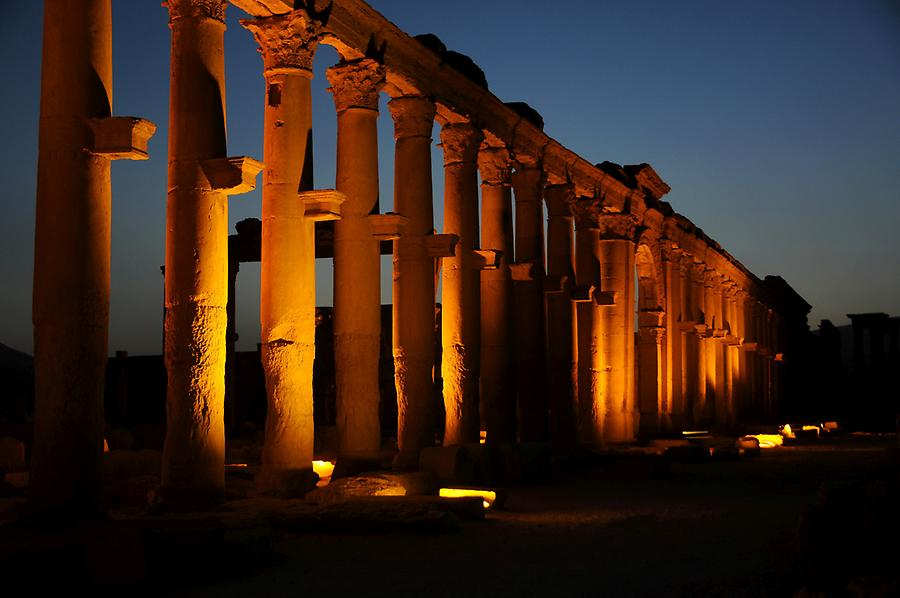 Palmyra at night