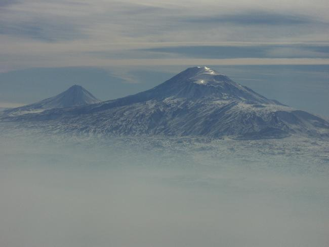 Mount Ararat through fog