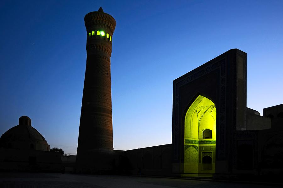 Kalon Mosque - Minaret at Night