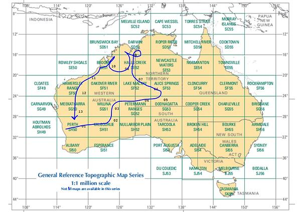 the maps indexed in the figure above are made available by Geosciences Australia and can be accessed by mapping applications such as Avenza